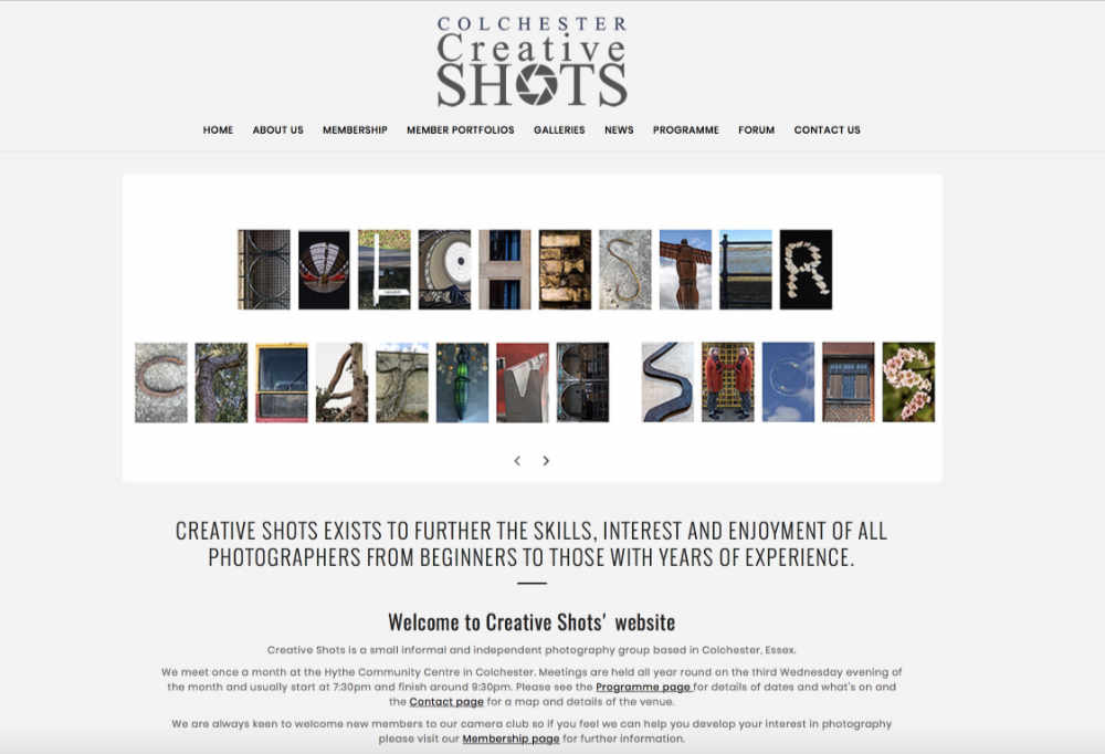 Screenshot of Creative Shots website