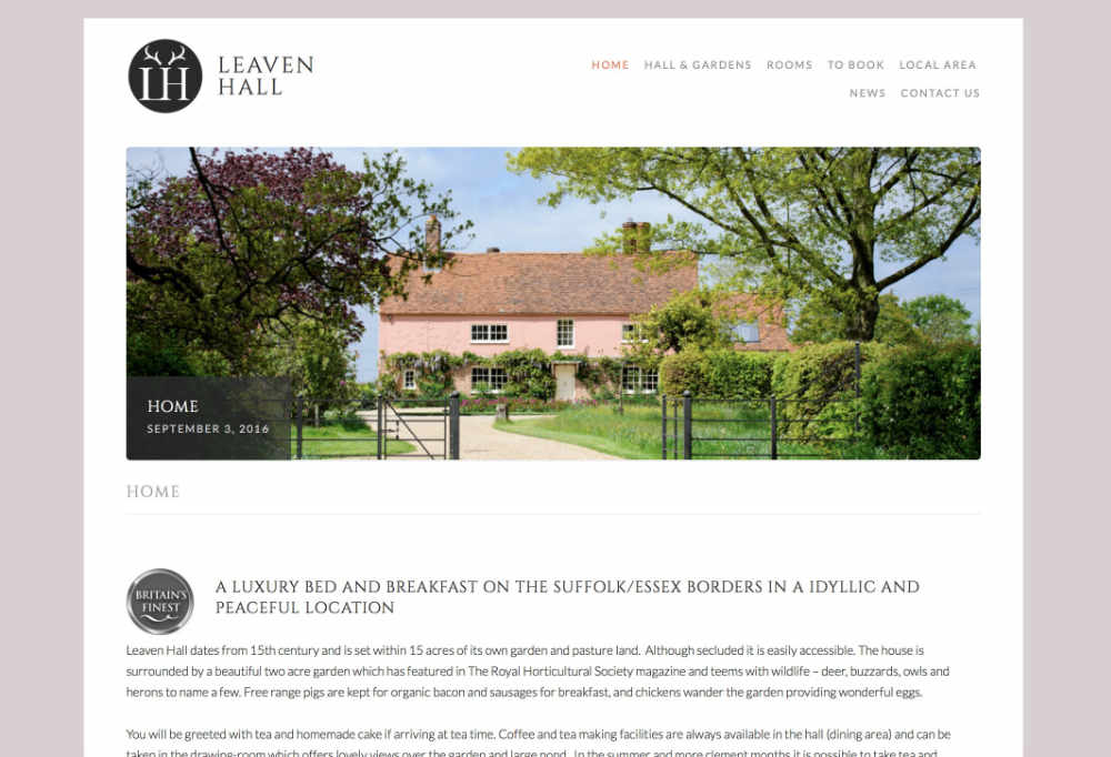 Screenshot of Leaven Hall website