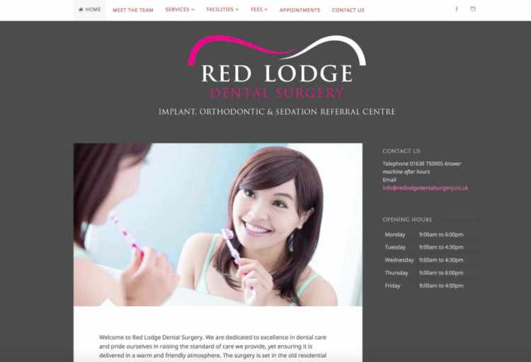 Screenshot of dental website